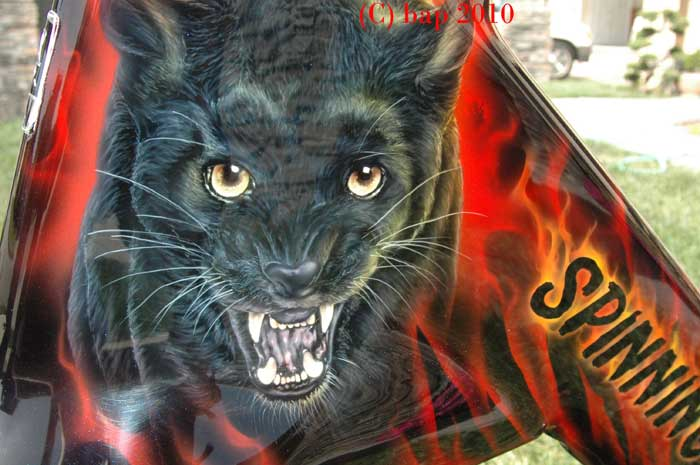 custom airbrush paint black panther spinning bike design
