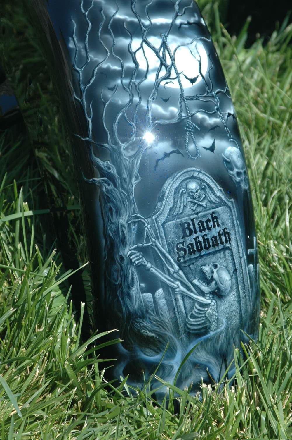 Black Sabbath Motorcycle Design Airbrush Painted By Bad