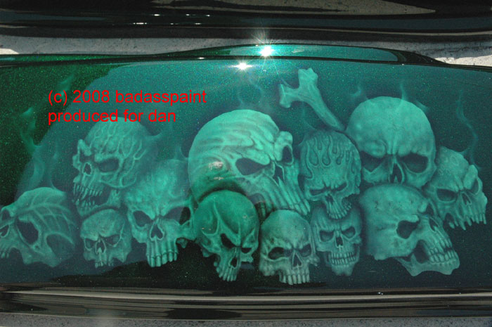 custom airbrush paint skulls motorcycle design