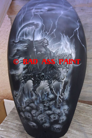 custom airbrush paint grim reaper motorcycle design