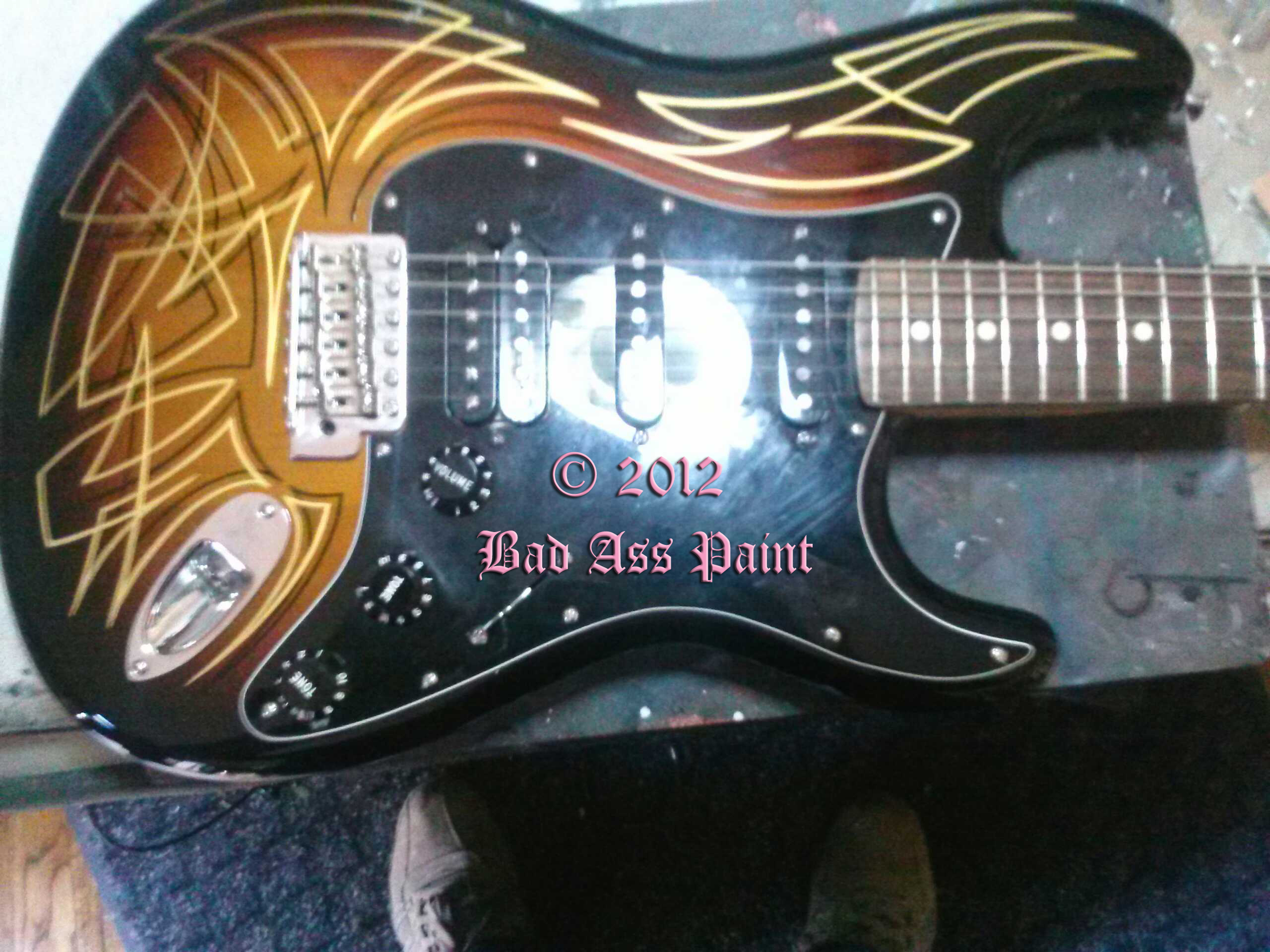custom painted guitars by bad ass paint rock and roll custom paint jobs. Black Bedroom Furniture Sets. Home Design Ideas