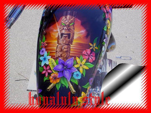 custom airbrush paint floral motorcycle design
