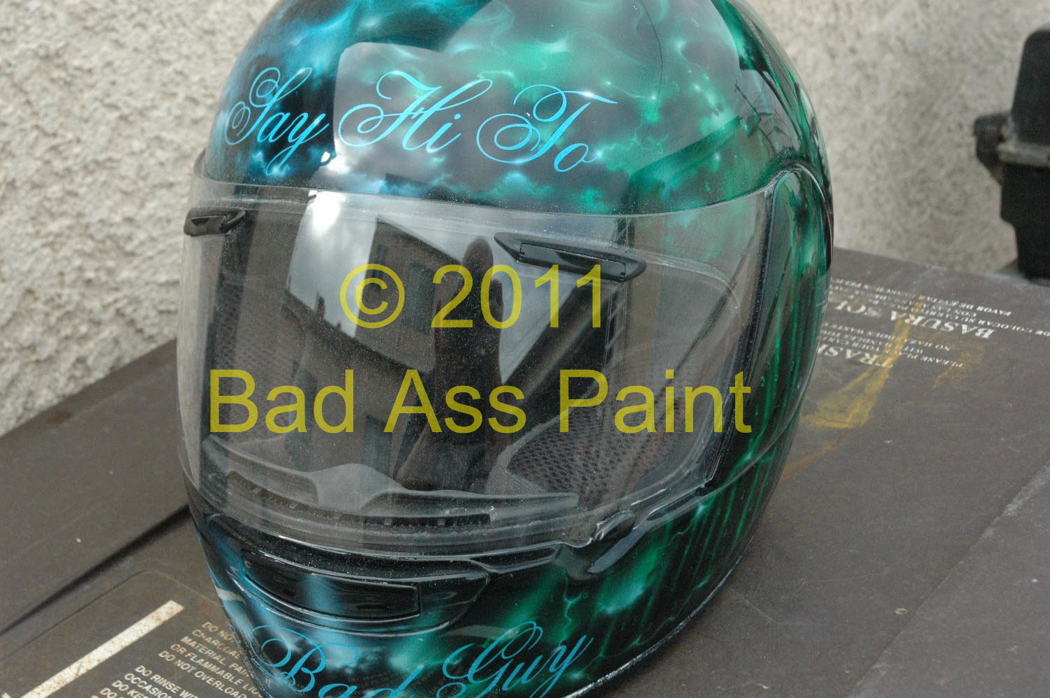 custom airbrush painted motorcycle helmets by bad ass paint. Black Bedroom Furniture Sets. Home Design Ideas
