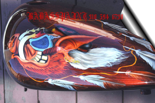 custom airbrush paint motorcycle design hog
