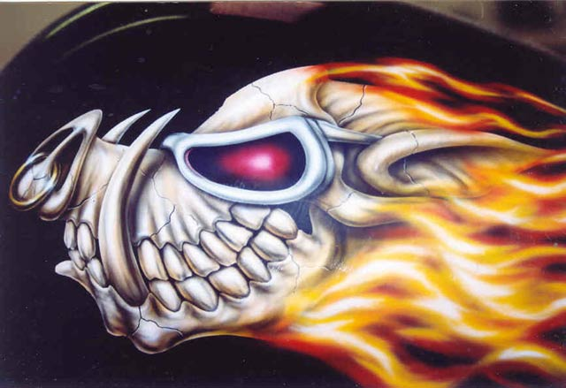 custom airbrush paint motorcycle design hog skull