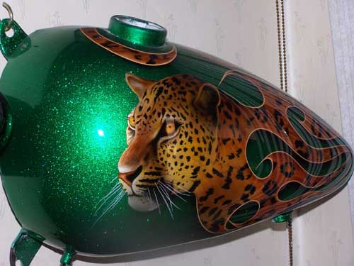 custom airbrush paint motorcycle design leopard
