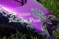 purple bike tribal design airbush paint job