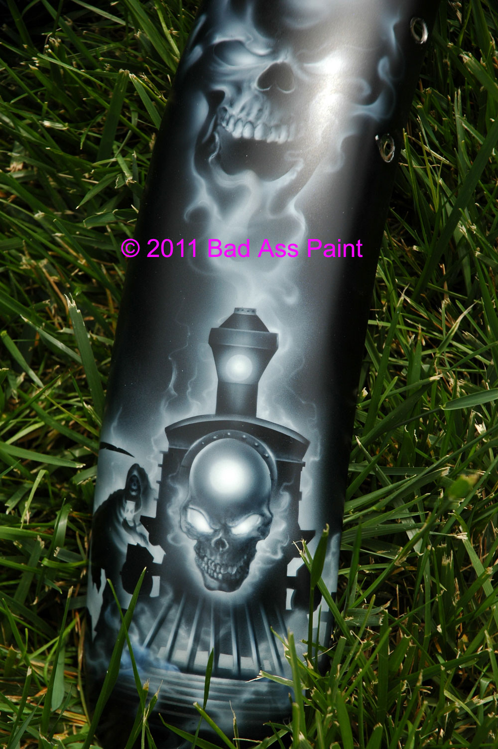 custom airbrush paint reaper train motorcycle design