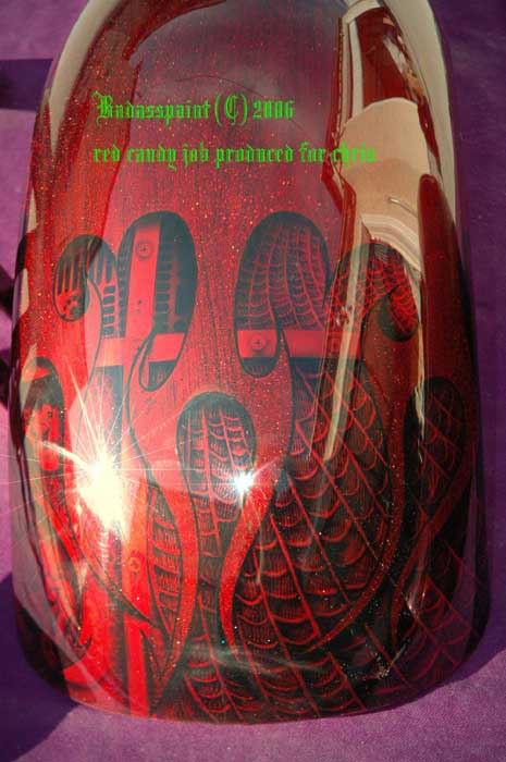 motorcycle design red candy paint job