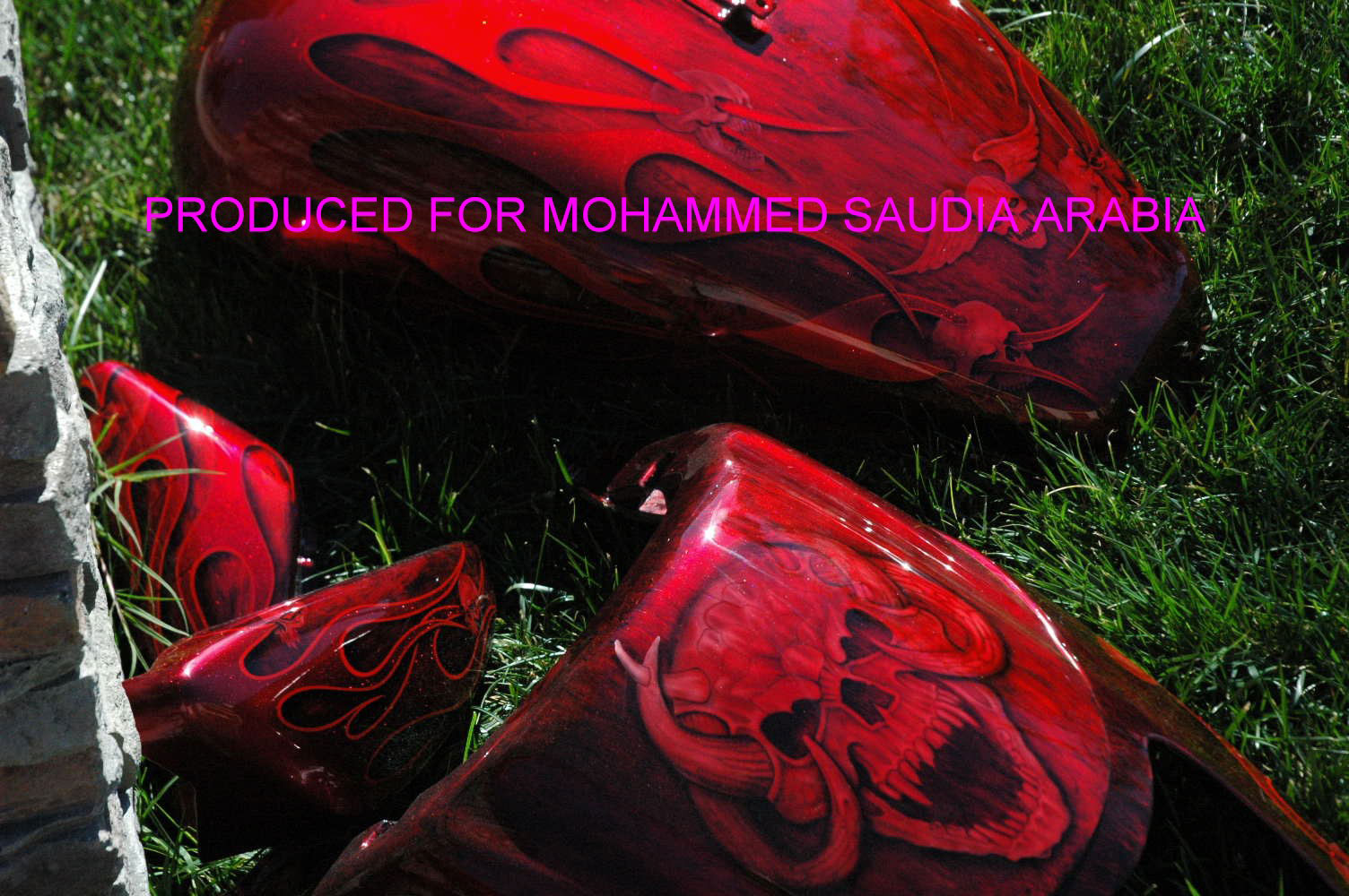 custom airbrush paint red flames and skulls motorcycle design