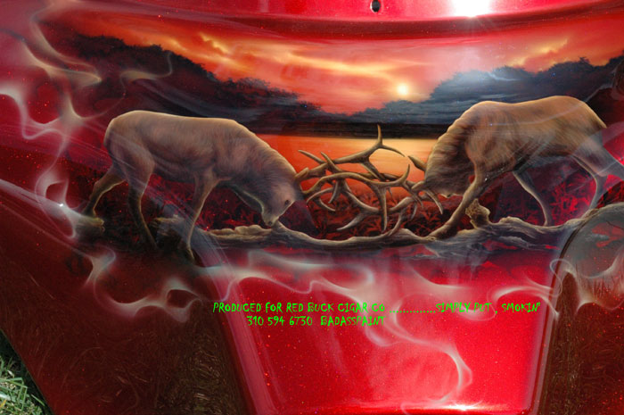 custom airbrush paint red candy paint and animals motorcycle design