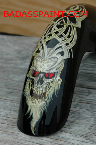 custom airbrush paint motorcycle design skull red eyes