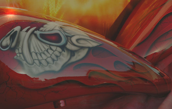 custom airbrush paint motorcycle flames design