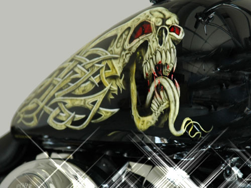 custom airbrush paint motorcycle design skull