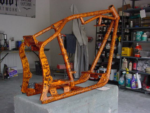 motorcycle design orange skulls frame - Motorcycle Frame Paint