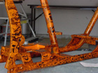 motorcycle design orange skulls frame