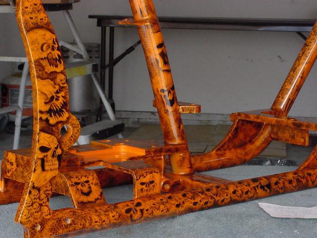motorcycle design orange skulls frame motorcycle design orange skulls frame - Motorcycle Frame Paint
