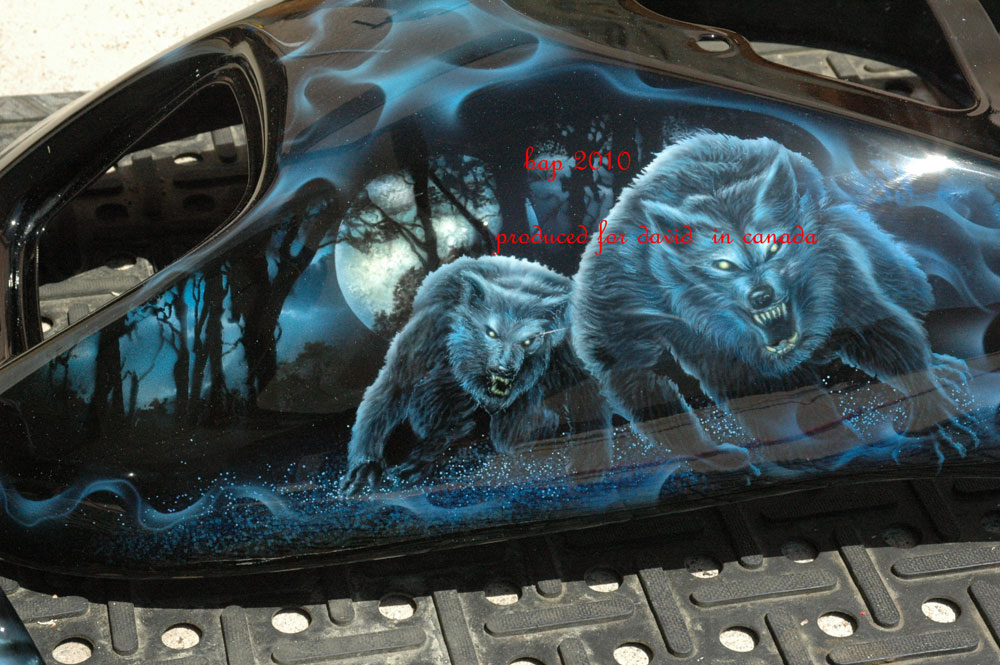 custom airbrush paint motorcycle design wolves
