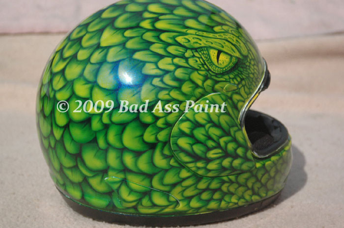 Custom airbrush painted motorcycle helmets by Bad Ass Paint